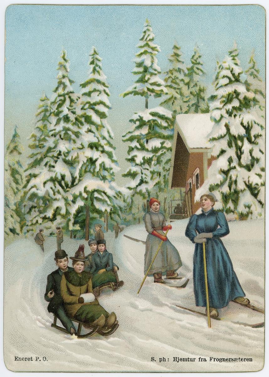 """Postkort. Motivet på kortets fremside viser en gruppe menn og kvinner på aketur i vinterlandskap, med påtrykt motivbeskrivelse """" hjemtur fra Frognersæteren"""". Aking på kjelke."""