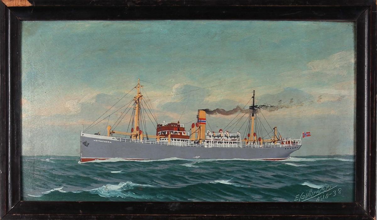 Skipsportrett av DS NOREFJORD under fart i åpne sjø. Fører norsk flagg akter.