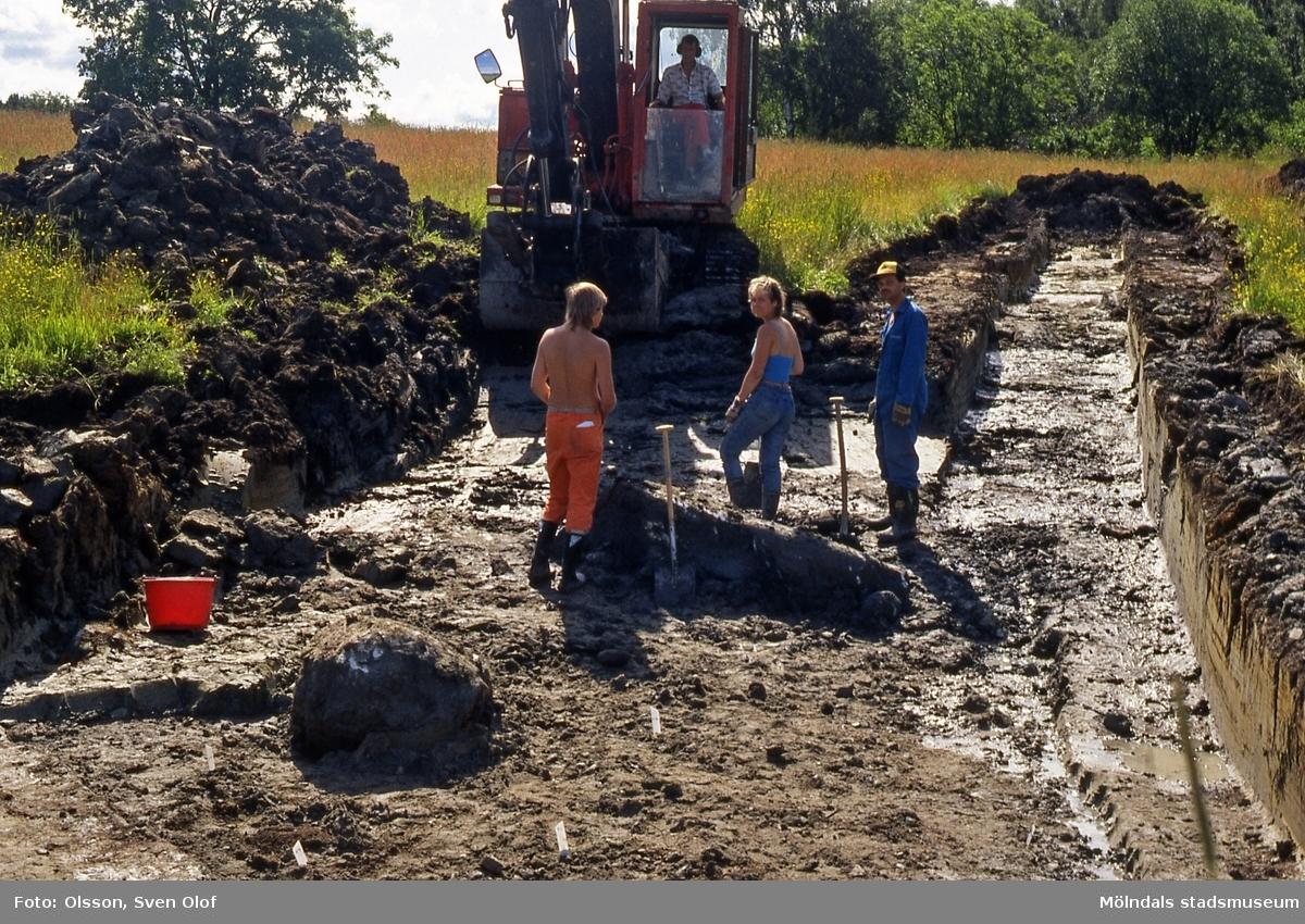 Riksantikvarieämbetet utför en arkeologisk utgrävning av en boplats på Kronogården 1 i Balltorp, Mölndal, år 1988. B 2:34.