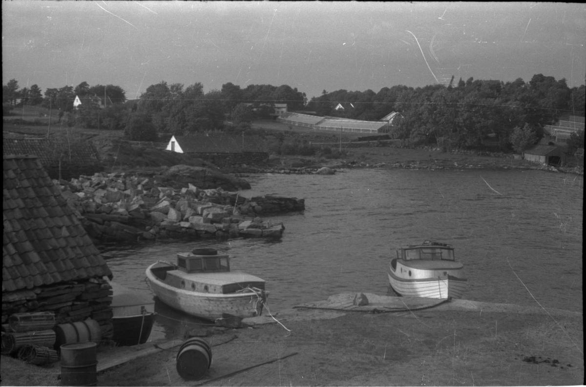 """Bilder fra motorbåttur i Ryfylke med Stavanger turistforening. Det er bilder fra flere steder langs kysten og lokalruteskipet M/S """"Sauda"""" (bilde nr. 5 og 6). På bilde nr. 13 spiser dem ombord på motorbåten."""