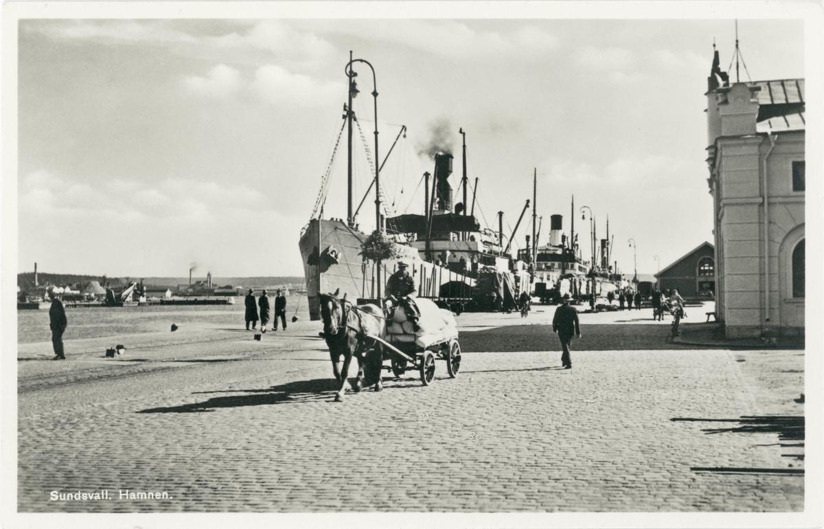 Fraktfartyg vid stora hamnkajen. Tullpackhuset skymtar i högra kanten. Åkare med hästdragen kärra. Vykort.