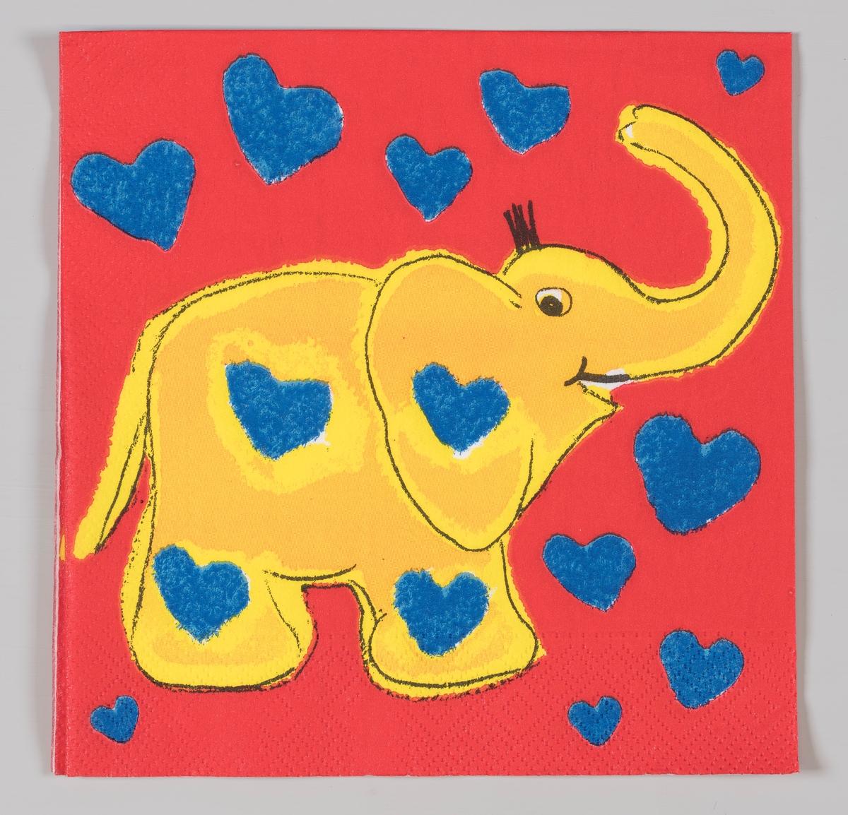 En gul elefant med blå hjerter