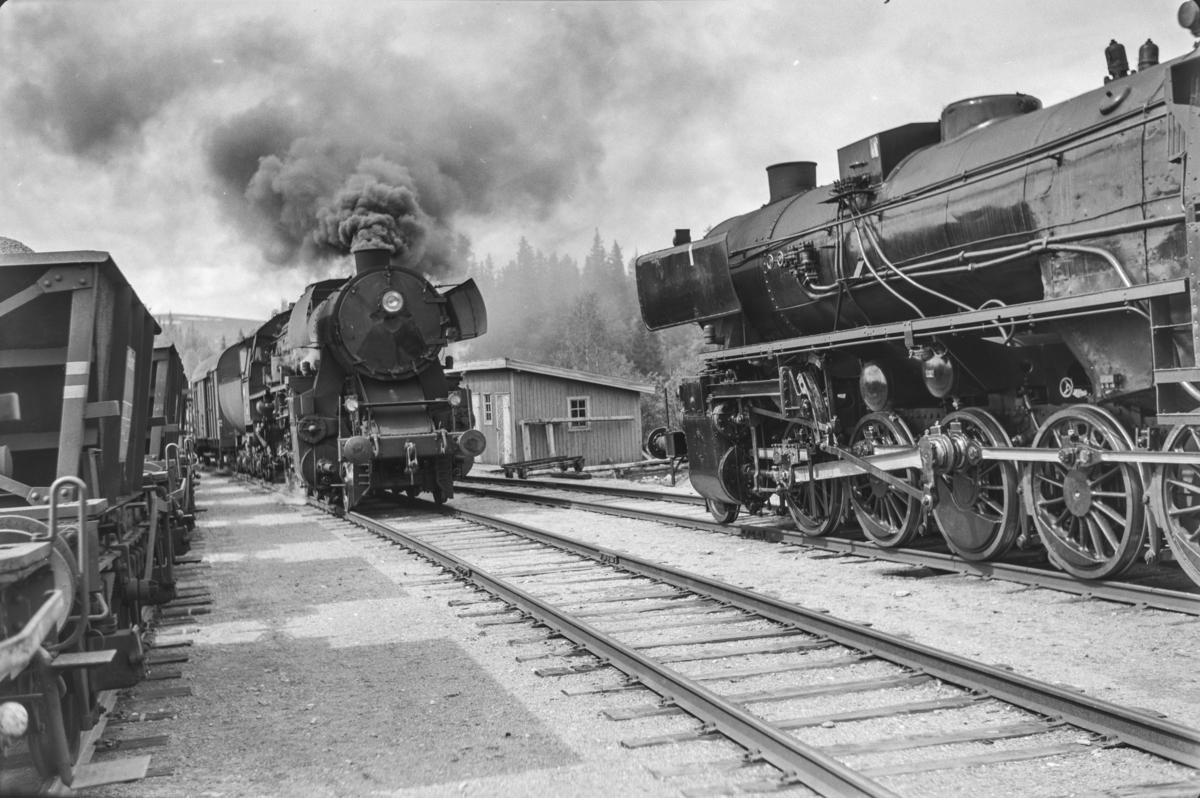 Kryssing mellom Rørosbanens norgående og sørgående underveisgodstog på Reitan stasjon. Togene trekkes av damplokomotiver type 63a nr. 5860. Til høyre 63a nr. 3437.
