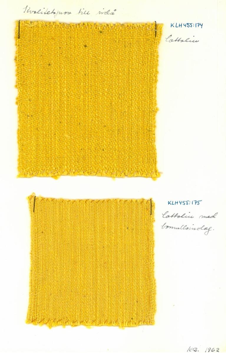 """Vävprov till draperi. Formgivare: Kerstin Butler """"Kvalitetsprov till ridå. Cottolin. Cottolin med bomullsinslag."""""""