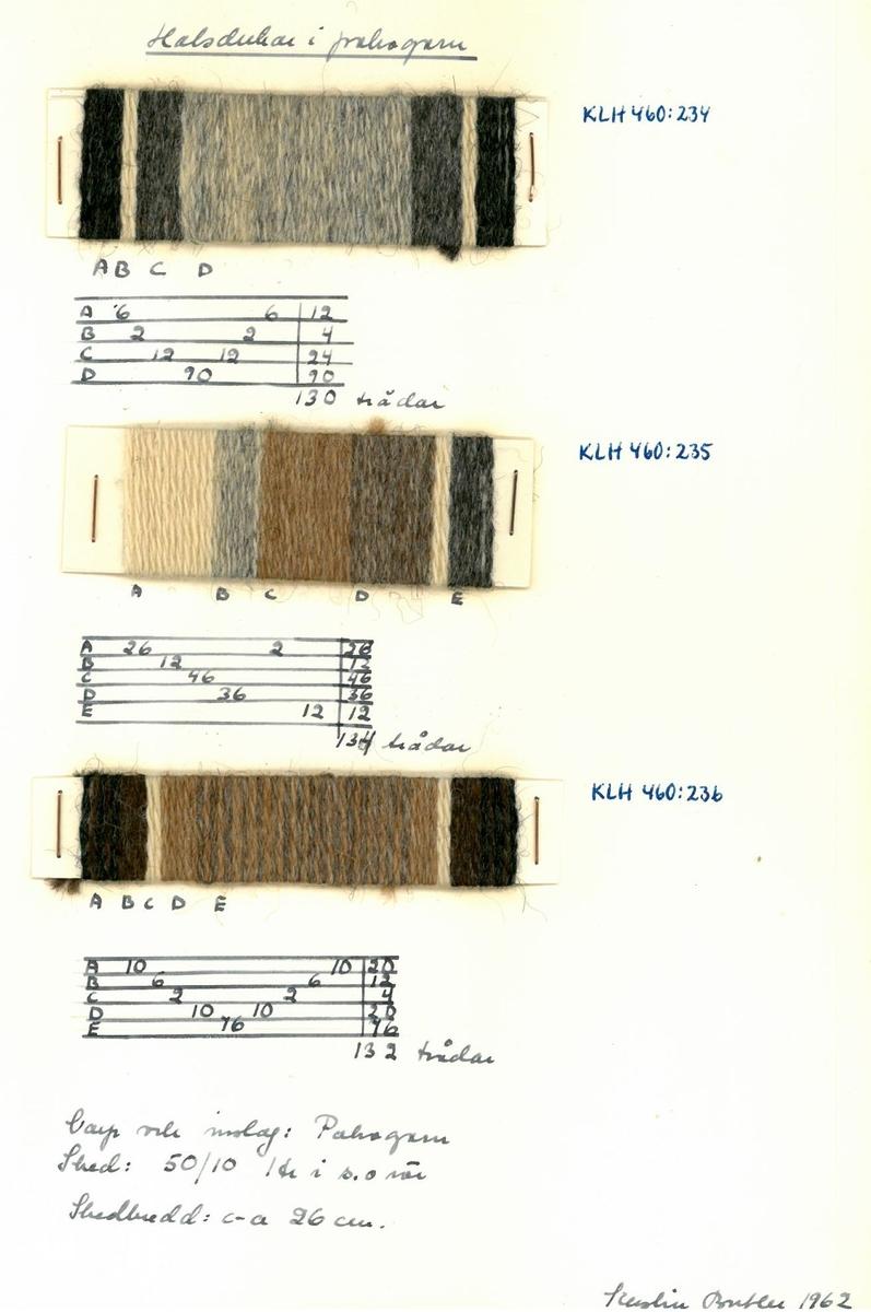Mönster, solvnotor och lindade randningar till halsdukar. Kerstin Butler 1961