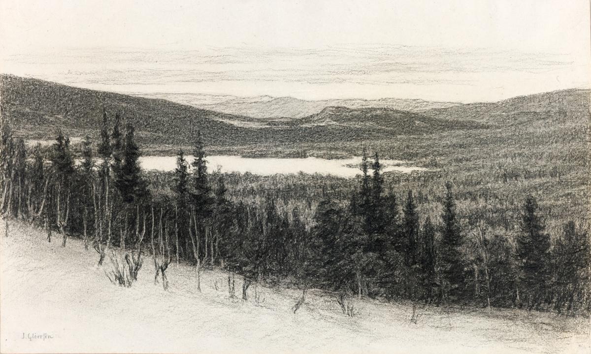 Landskap sett fra tregrensen ned mot vann og fjell bak.