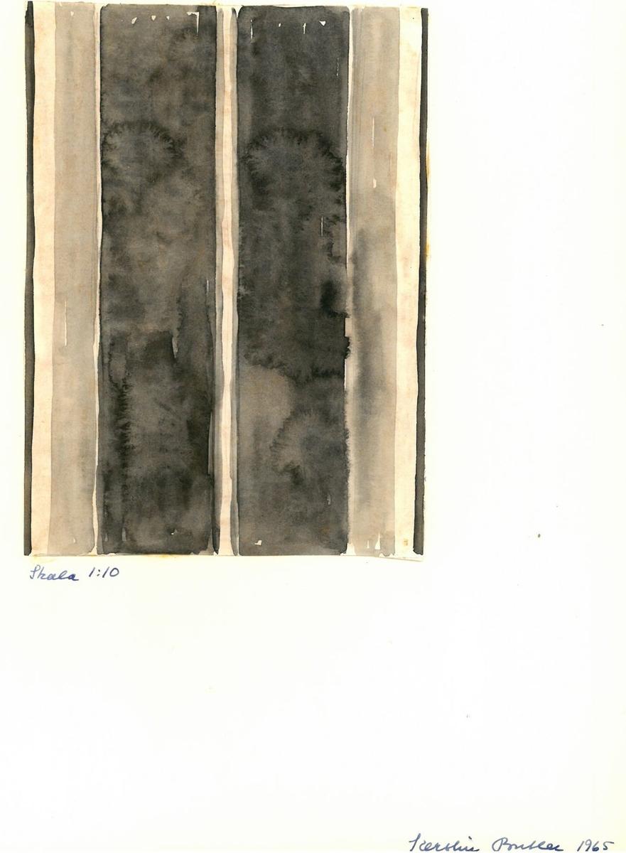 """Mönster, solvnotor och lindade randningar till halsdukar, plädar och sjalar. Kerstin Butler 1965 """"Skala 1:10"""""""
