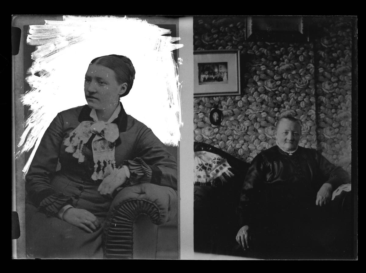 Två reprofotograferade porträtter av två kvinnor. Den ena bilden föreställer en kvinna som sitter och lutar sig mot armstödet på en soffa och har frilagts till hälften. Det andra porträttet föreställer en äldre kvinna i en soffa framför en tapt med rosenmönster. Reprofotograferingen var en beställning från Ludv. Andersson.