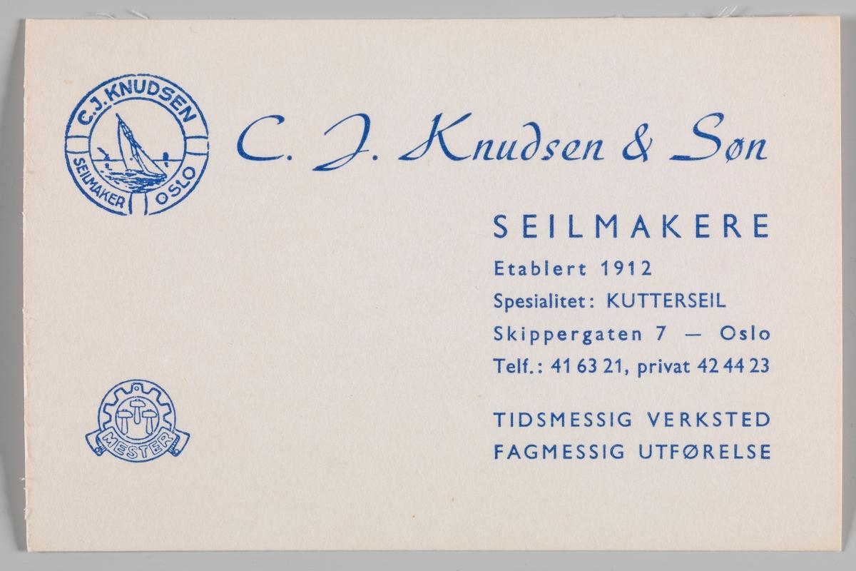 Visittkort for seilmaker C. J. Knudsen & Søn.