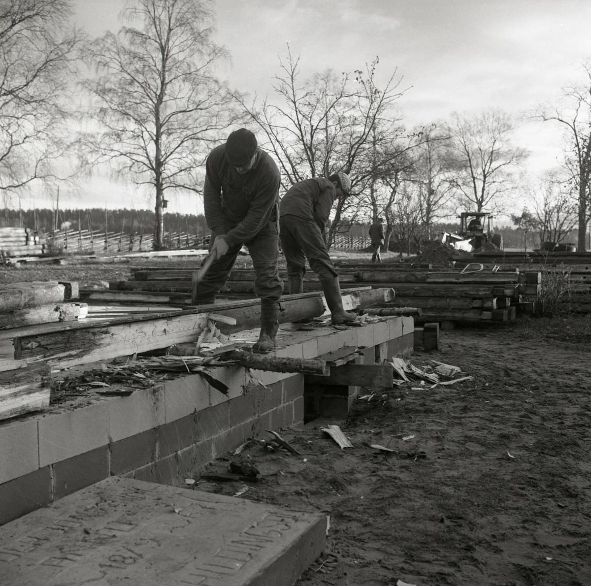 Två män justerar timmerstockar med yxa vid byggnation av ett bostadshus vid gården Sunnanåker, 1967.