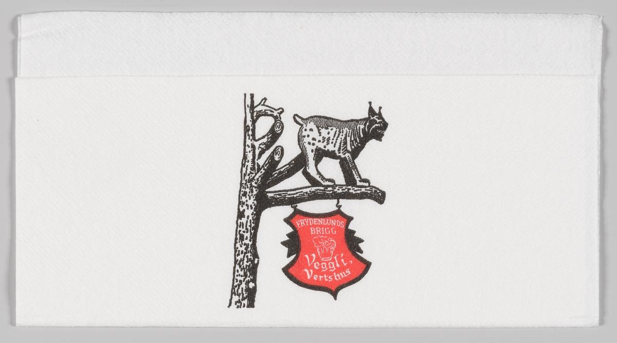 En gaupe på en gren hvor det henger et skilt under med reklame for Veggli Vertshus og Frydenlunds Brigg.  Veggli Vertshus ligger i Numedal rett ved FV40.   Frydenlund Brigg er en lettøl som kom i 1972. Fra 1985 er Brigg erstattet av andre lette øltyper.