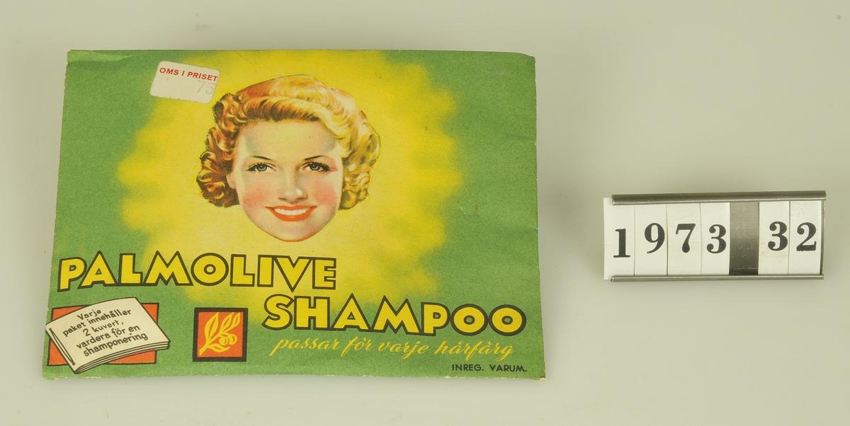 Innehåller 2 kuvert.  Modell/Fabrikat/typ: Palmolive Shampoo