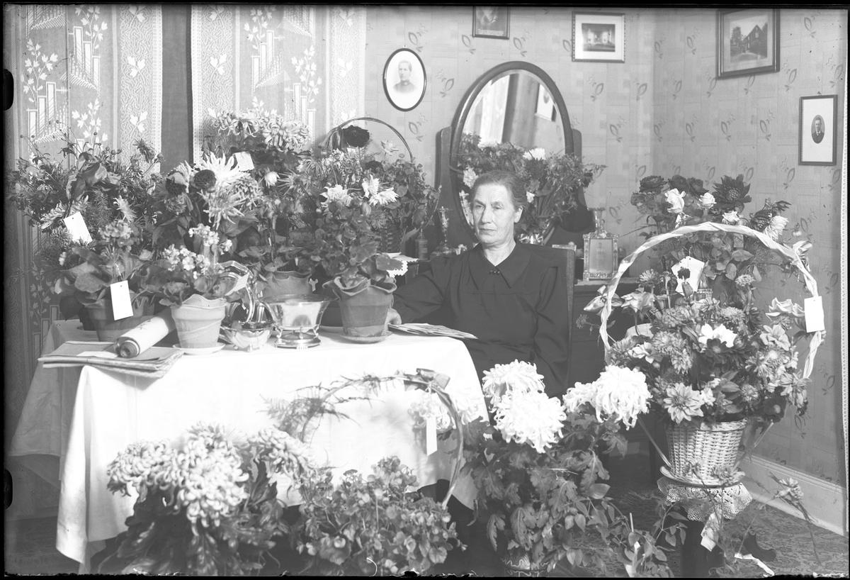 Amanda Johansson fotograferad omgiven av blommor och presenter i samband med sin 70årsdag.