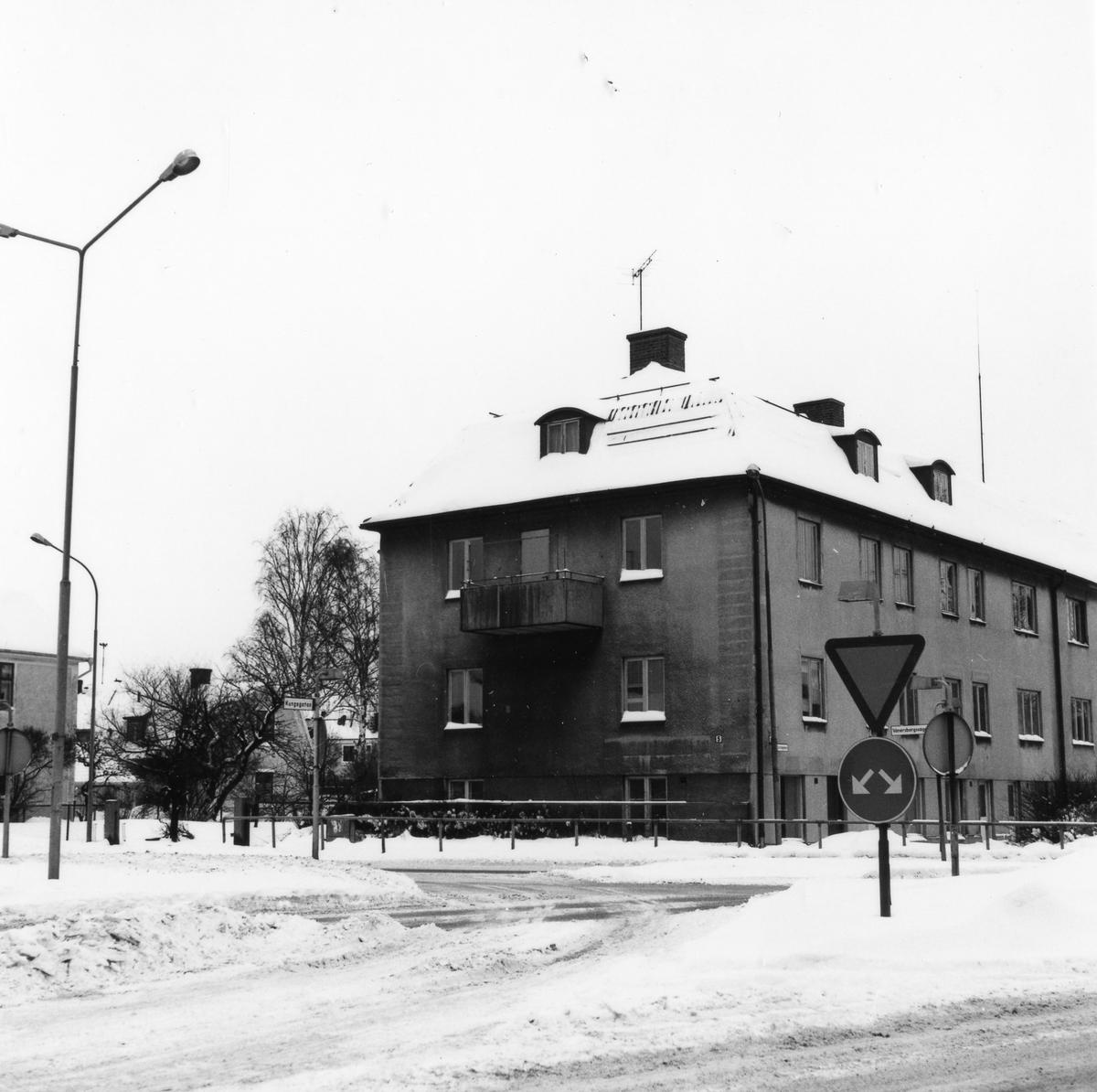 Vinterbild korsningen Kungsgatan och Vänersborgsvägen med ett 2 vånings bostadshus i centrum på bild.  Bostadshus i två våningar med butikslokaler i källarplan utmed Kungsgatan. Entrépartier mot gårdssidan. Putsade väggar, tvåkupigt taktegel. Lägenheter försedda med kakelugn i ett rum. Parkettgolv. Beslut om rivning i november 1978. Fastighetägare: Alingsås kommun. Fastigheten revs för att ge plats åt trafiken och den signalreglerade korsningen som planerades där.  Kvarteret Fruktkorgen 16. Kungsgatan. Vänersborgsvägen.