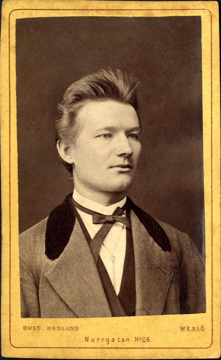 """Porträtt (bröstbild, halvprofil) av en man klädd i kostym med sammetskrage och stärkkrage med fluga.   Bildtext: (baksida) Fotografi af Gust. Hedlund, från Stockholm, adress Wexiö, Hörnet af Norrgatan No 26 och Teatertorget, Wexiö. """"J. Petrén, adr. Stengårdshult, Sandsebo"""".   Kan ev. vara: Justus Petrén (1851-1915), f. i Månsarp, folkskollärare."""