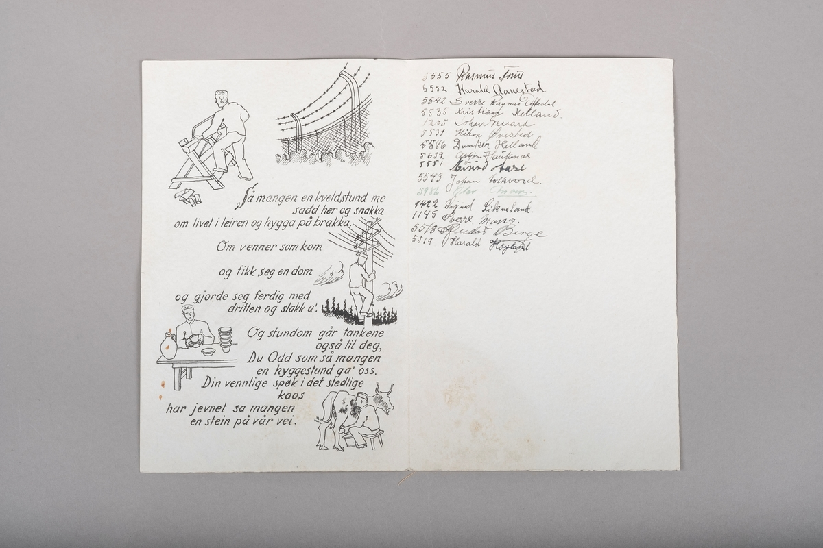 Det er fem illustrasjoner rundt diktteksten. Fra øverst til nederst på siden er dette: et gjerde med piggtråd, en mann som sager ved, en mann som klatrer opp en strømmast, en mann på keramikkverkstedet og en mann som melker en ku. Mennene har på seg fangedrakter og i to tilfeller fangelue.