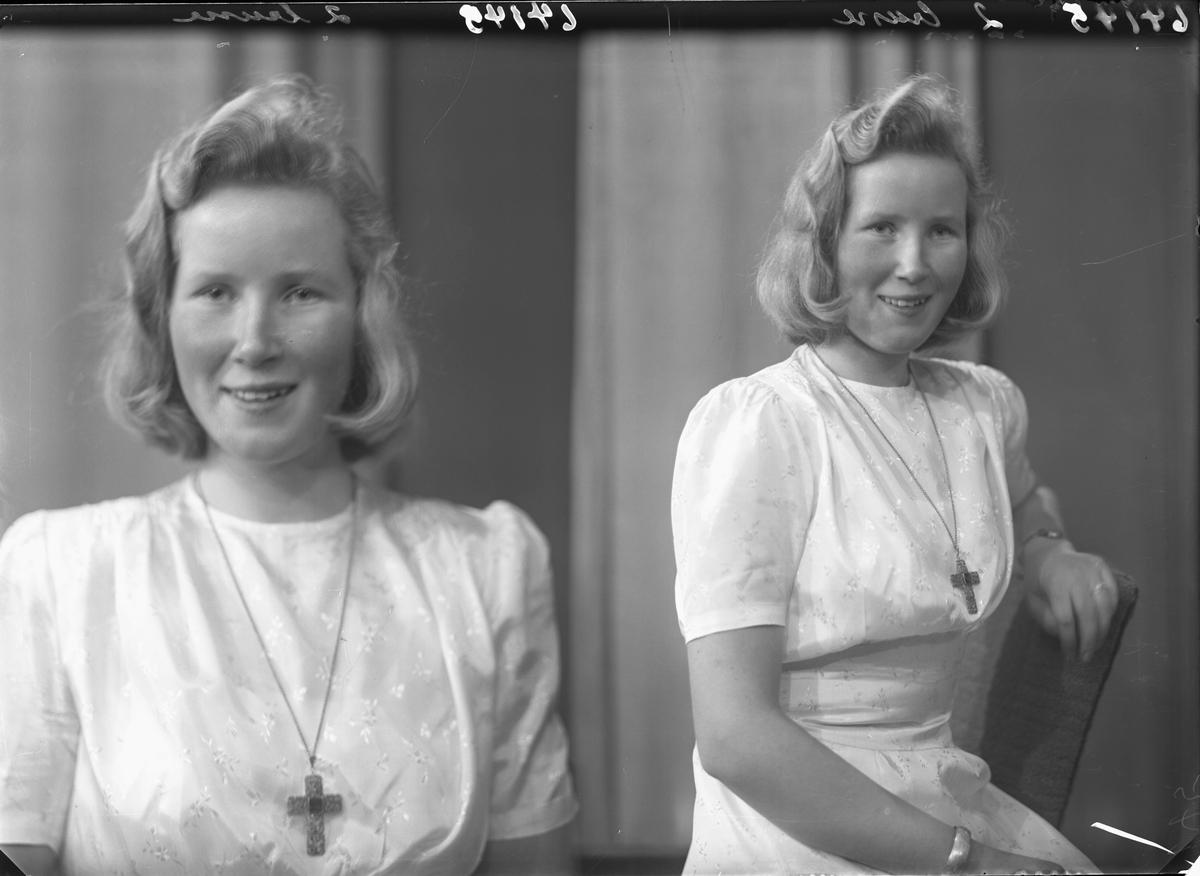 Portrett. Ung lyshåret kvinne i lang lys kjole, kors rundt halsen. Konfirmant. Bestilt av Sigrid Hamre. Strangt. 200