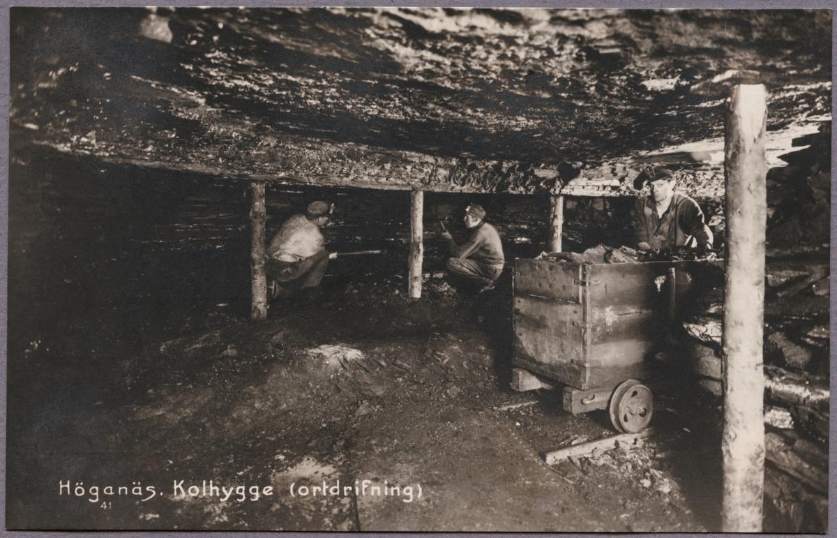 Kolgruvearbetare i Höganäs gruva, Skåne.