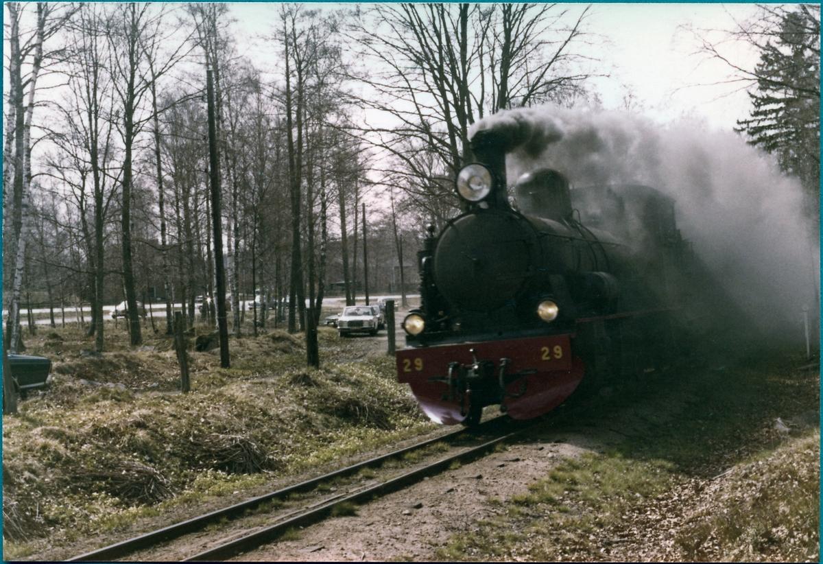 Före detta Västergötland Göteborgs Järnväg, VGJ lok 29, som museitåg i Sandsbro, på sträckan Växjö-Åseda.