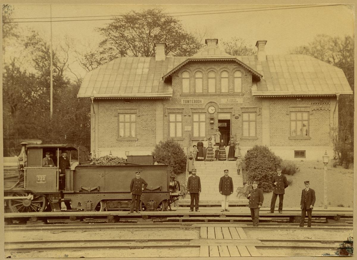 Statens Järnvägar, SJ, SJ Da1 322. Mannen med flaggan är Stins G.P. Forsgren ( i Tm Fr. 1895, XF i Sst Fr. 1901) Mannen nr 2 Från Höger är sedemera Stins J Dahllöf, Karlberg.