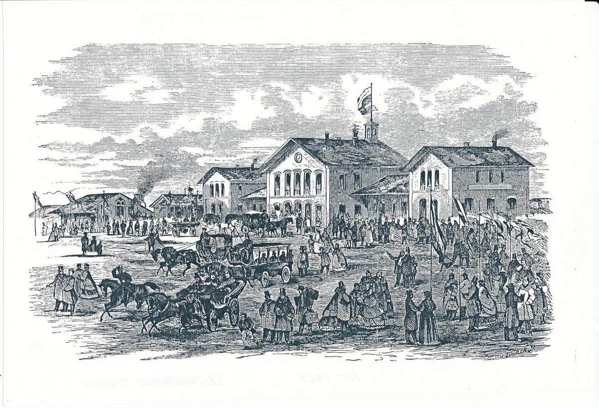 Kristinehamns station avbildad i Ny Illustrerad Tidning 1867.