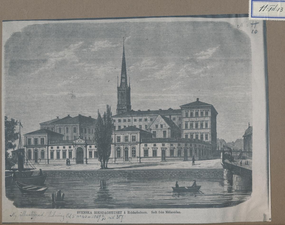 Riksdagshuset på Riddarholmen, sett från Mälarsidan. Från Ny Illustrerad Tidning, 1869, sid 317