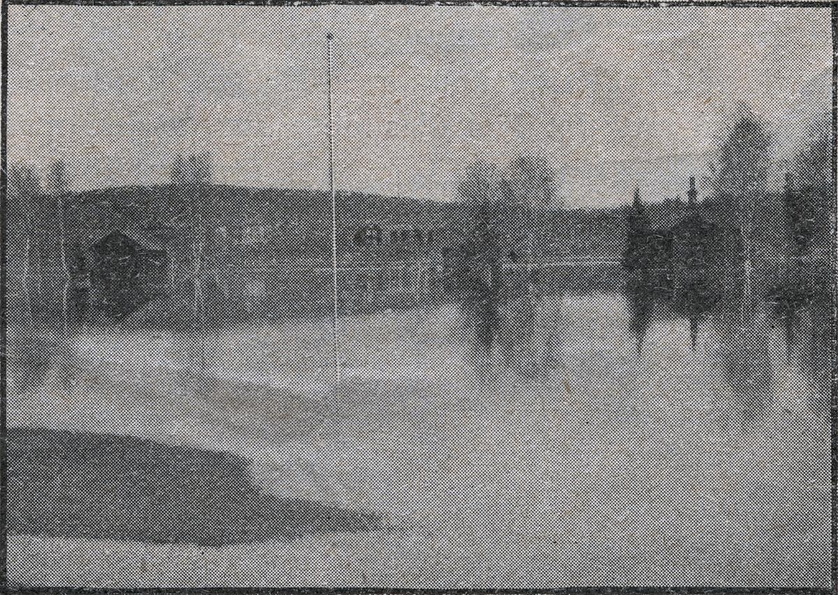 Översvämning 1906 vid Vallsta station.