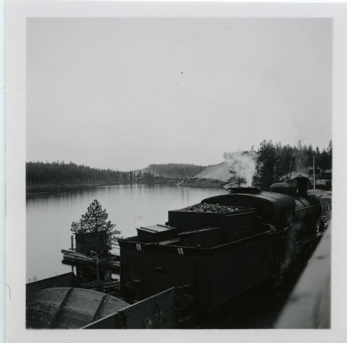 Ånglok Statens Järnvägar SJ E  988 vid  Vaimat grusgrop.