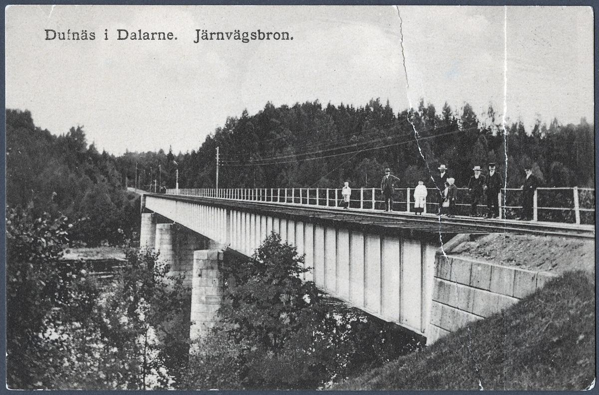 Järnvägsbron över Dalälven vid Duvnäs på linjen mellan Borlänge och Insjöns hamn.