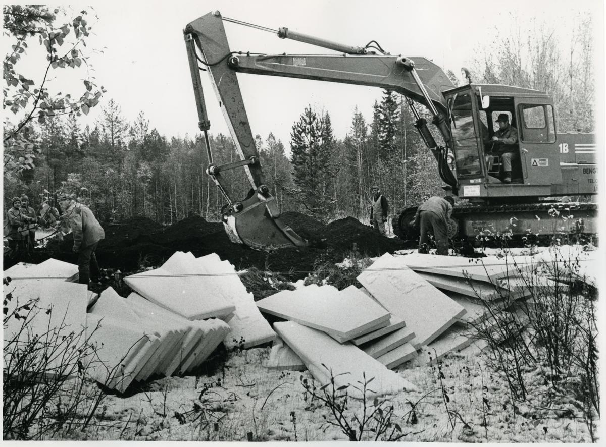 Banbyggnad Inlandsbanan. Inlandsbanan rustas Östersund-Hoting. Bandel 051 och 055