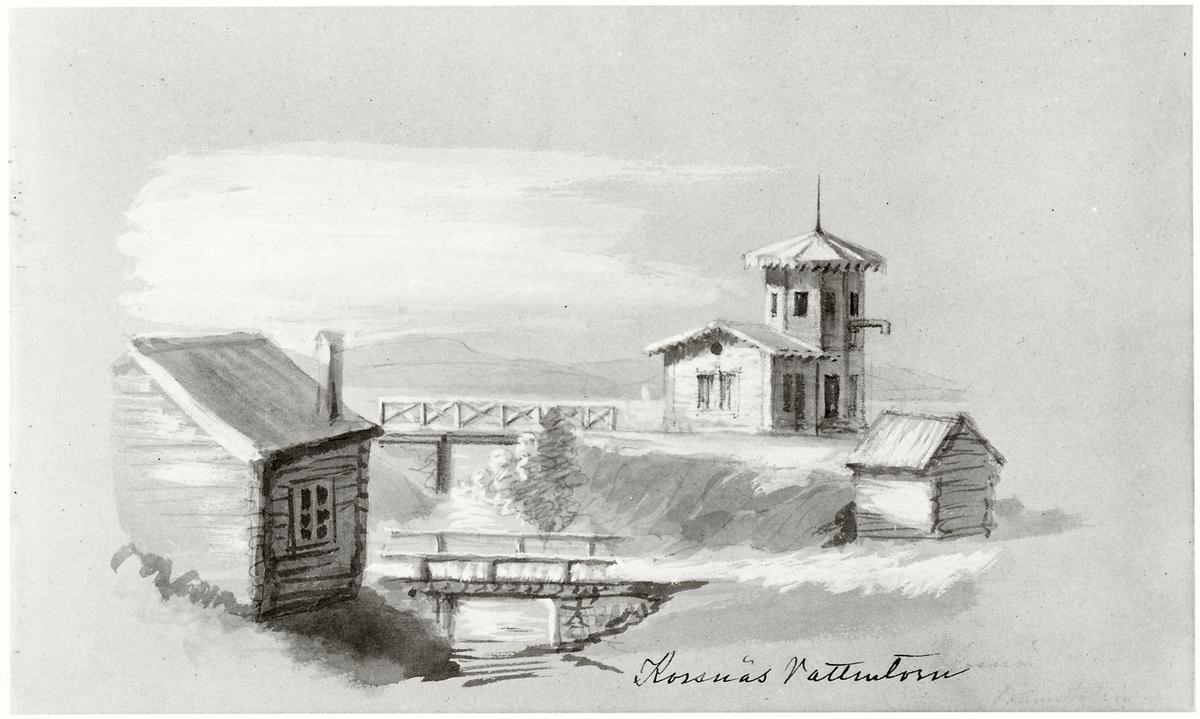 Akvarell över Korsnäs Vattentorn strax öster om Falun.