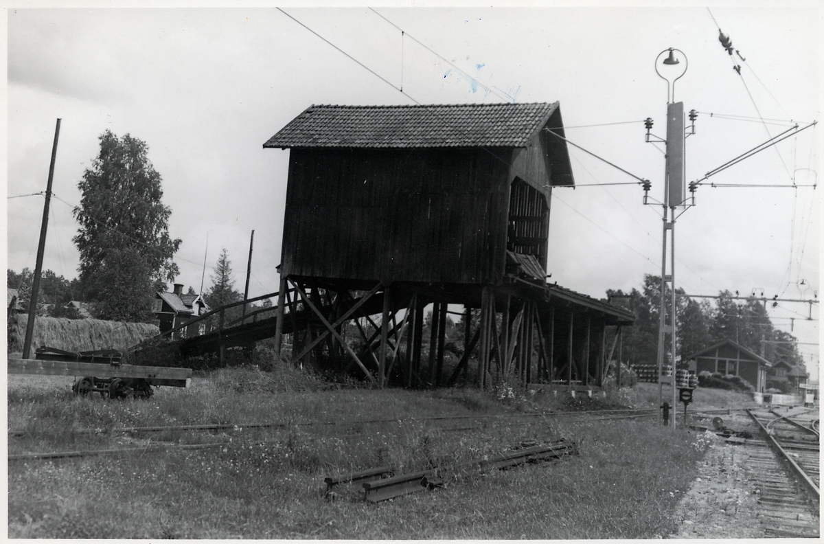 Byggnad för träkolsomlastning, vid Lindfors station.