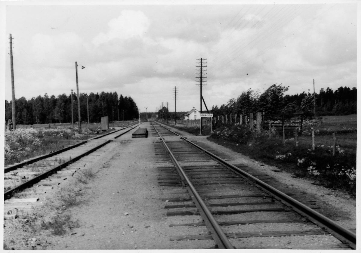 """Text på baksida: """"Oppboga, mot väster"""".  Text på omslag: """"Köping-Frövi""""."""