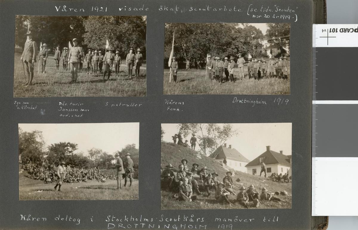 """Bildtext: """"Kåren deltog i Stockholms Scoutkårs manöver till Drottningholm 1919."""""""