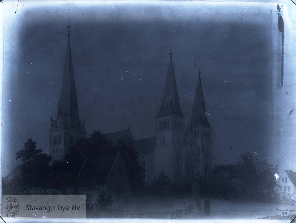 Tegning av Johan Meyers forslag med tårn.