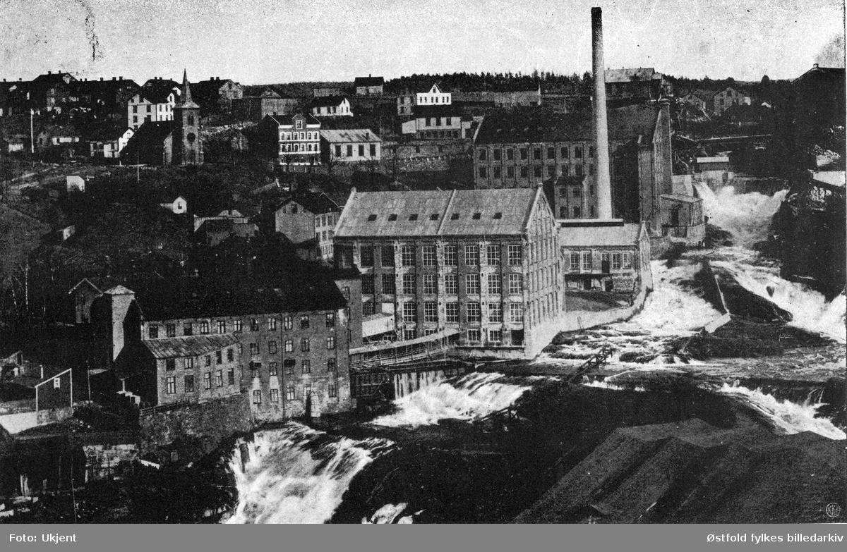 Haldens Bomullsspinneri i Halden og Tistedalsfossen , etter 1909.