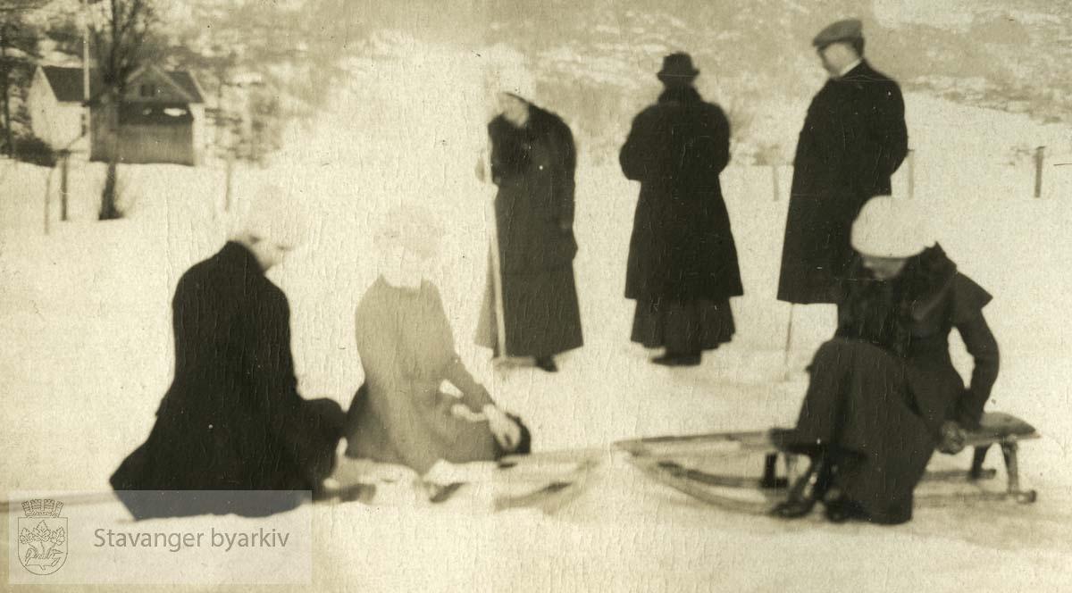 Gruppe i snøen, Sauda