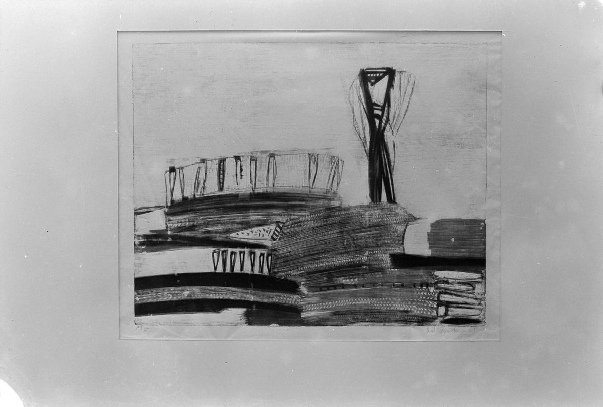 Maleriutstilling i Trondheim Kunstforening, bilder av Bjarne Brunsvik og Knut Rumohr