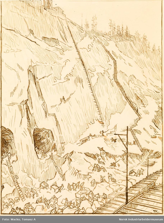 Fem forstudeier og skisser til svelgfos-serien. Motiv fra utbyggingen av kraftverket Svælgfos. Forarbeidet til «Fossen» (1907), «Grunnarbeide» (1907), «Dammen på Kloumann-sjøen» (1908), «Svælgfos» (1907) og «Markens grøde» (1907).