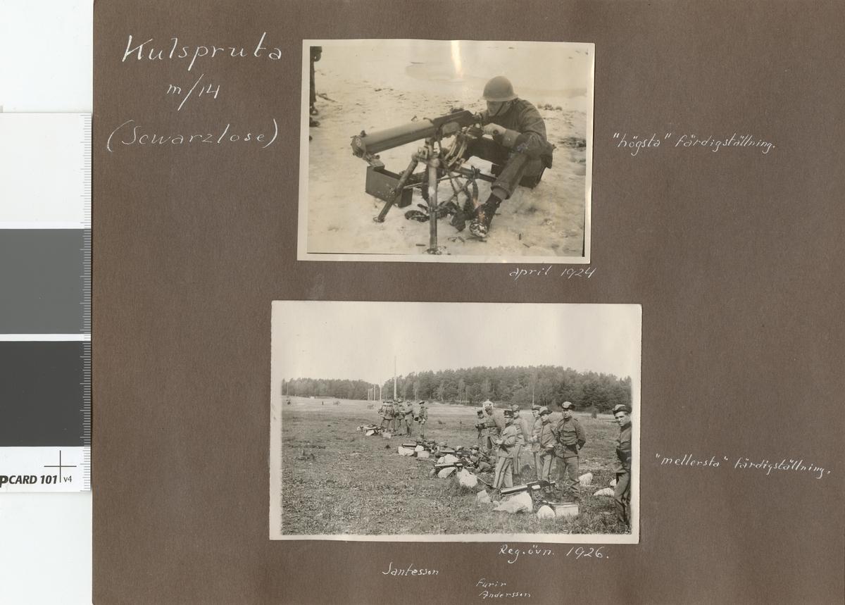 Stormsoldatskolan våren 1924. Skjutning med kulspruta m/14