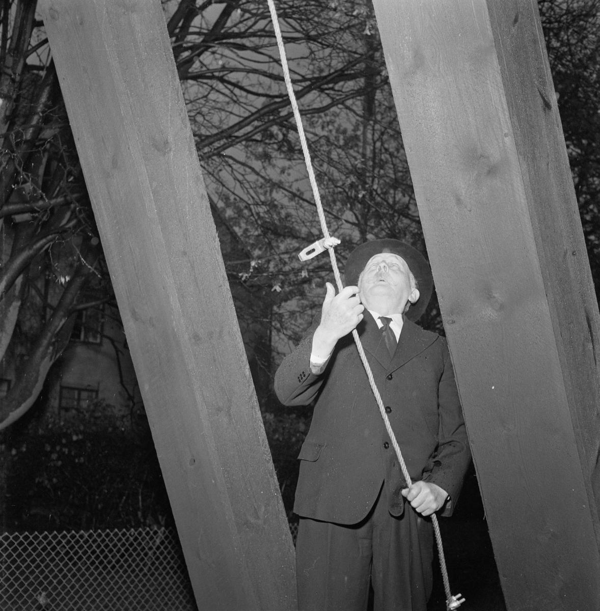 Vindhemskyrkan, invigning av klockstapeln, Uppsala, november 1955