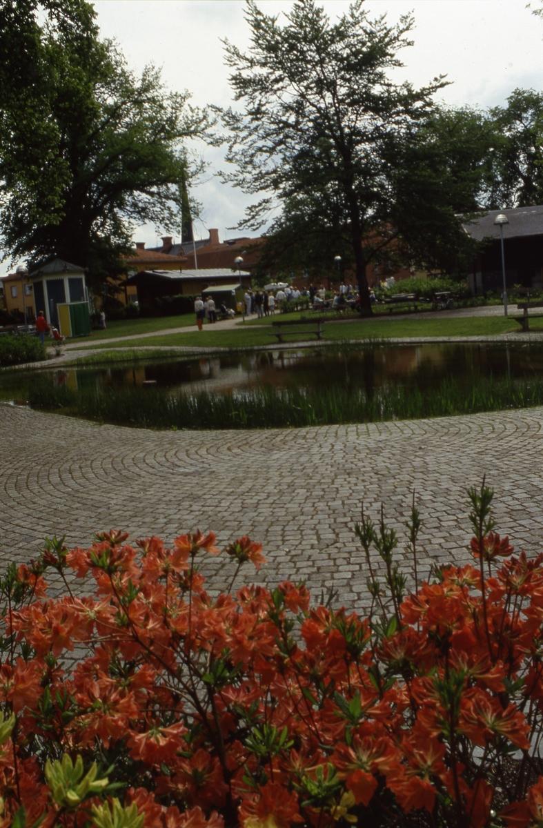 Aktivitet i Olof Ahllöfs park. Till vänster syns lusthuset och taxistationen.