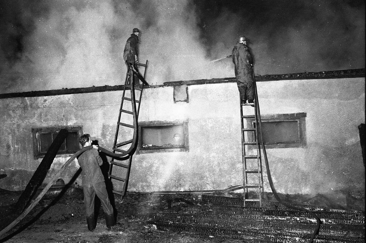 Det brinner i Kägleholm! Rök väller upp från taket. Två män står på var sig stege och spolar vatten. Den högra mannen är brandman.
