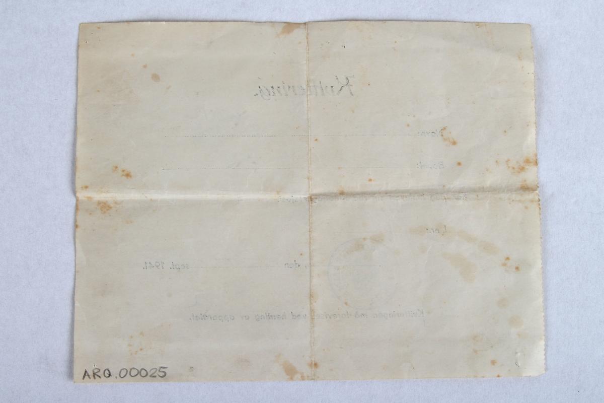 Kvittering for innlevering av radiomottaker.