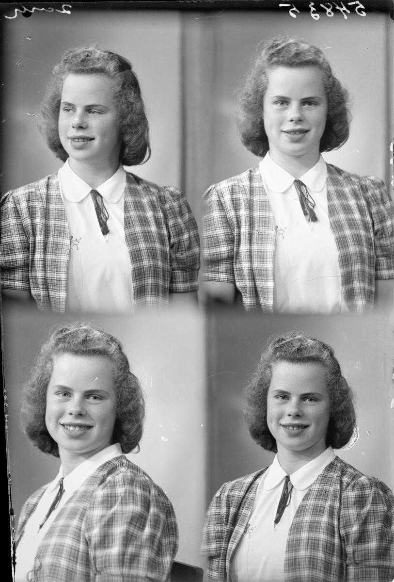 Portrett.  Ung lyshåret kvinne i kortermet hvit bluse, lisseslips og skotskrutet vest. Bestilt av Solveig Sæthre. Øvregt. 66