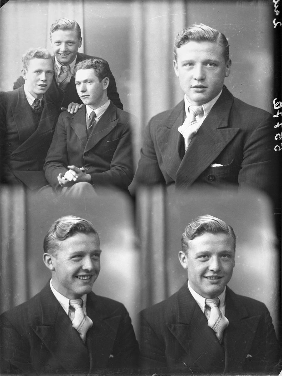 Portrett. Gruppe på tre unge menn. Et foto viser alle tre. Fire foto av ung lyshåret mann i mørk dress, hvit skjorte og lyst stipet slips. En ung mørkhåret mann i mørk, hvit skjorte og mørkt slips. En ung lyshåret mann i mørk dress, mørk vest, hvit skjorte og mørkt stipet slips. Brødre. Bestillt av Arne Andersen