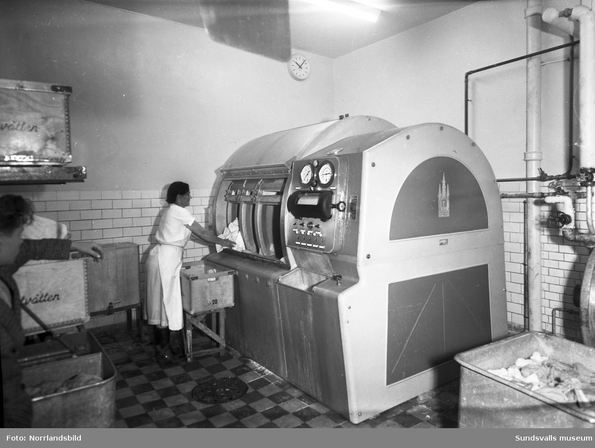 En kvinna tömmer (eller fyller) IMA-tvättens nya moderna tvättmaskin.