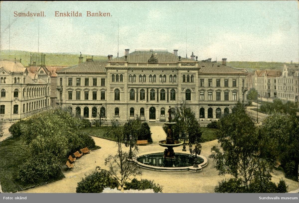 Vykort över Vängåvan och Sundsvalls Enskilda bank.
