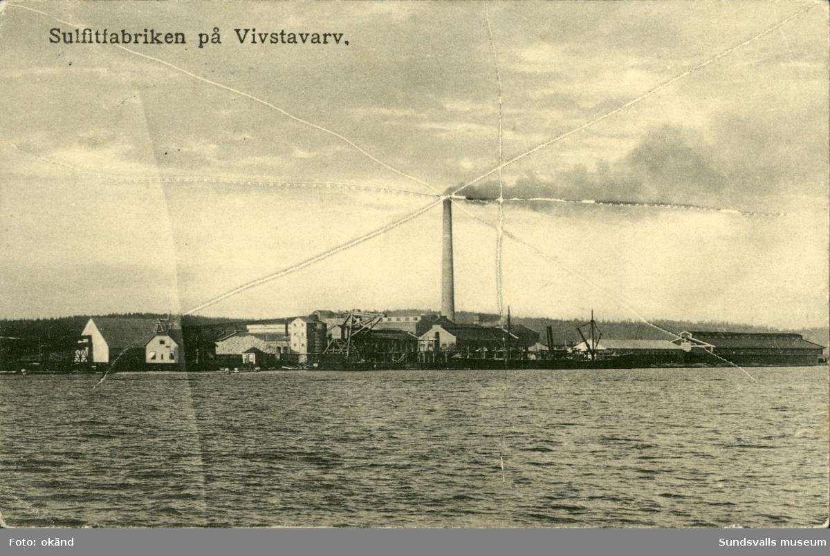 Vykort med motiv över Sulfitfabriken på Vivstavarv.