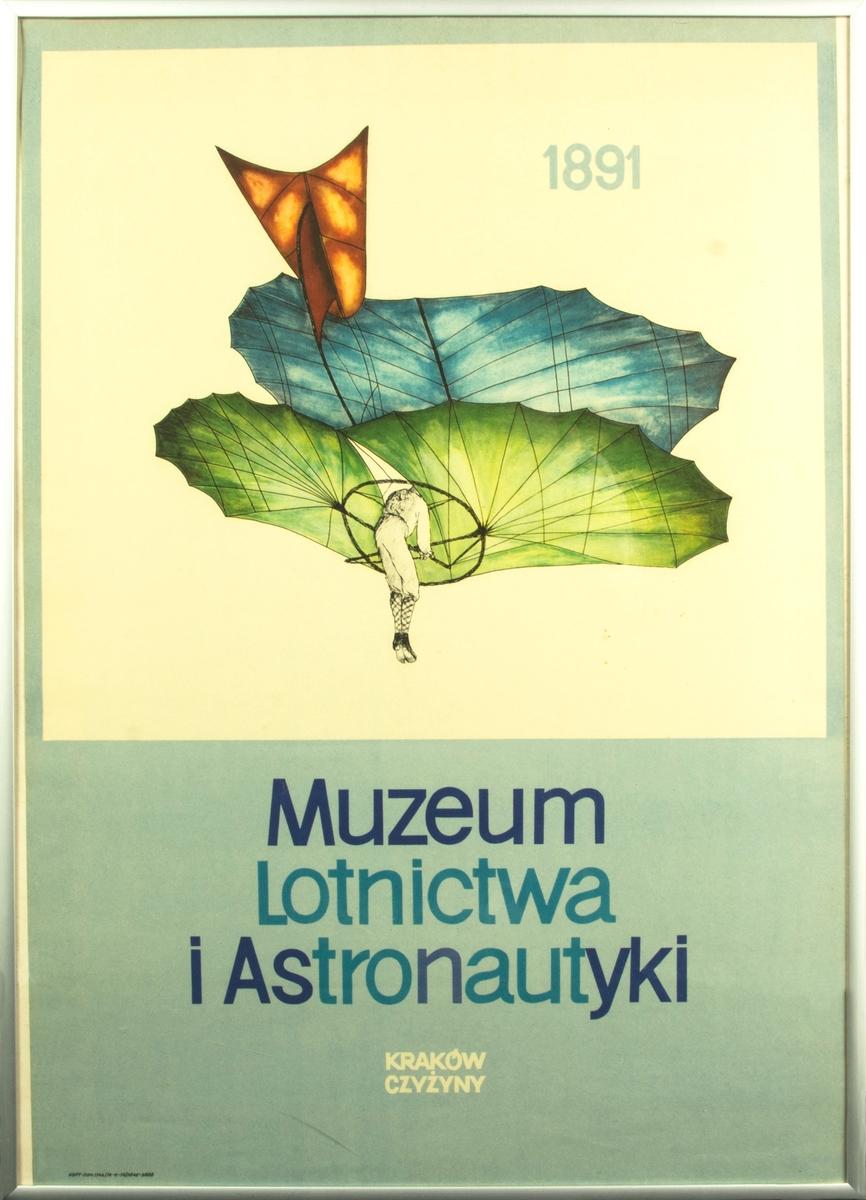 Affisch från Polskt flygmuseum. Inramad i vit plastram.
